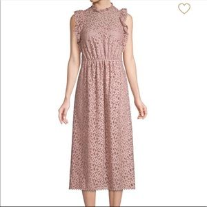 Kate Spade Pink Floral lace Ruffle Midi Dress 12